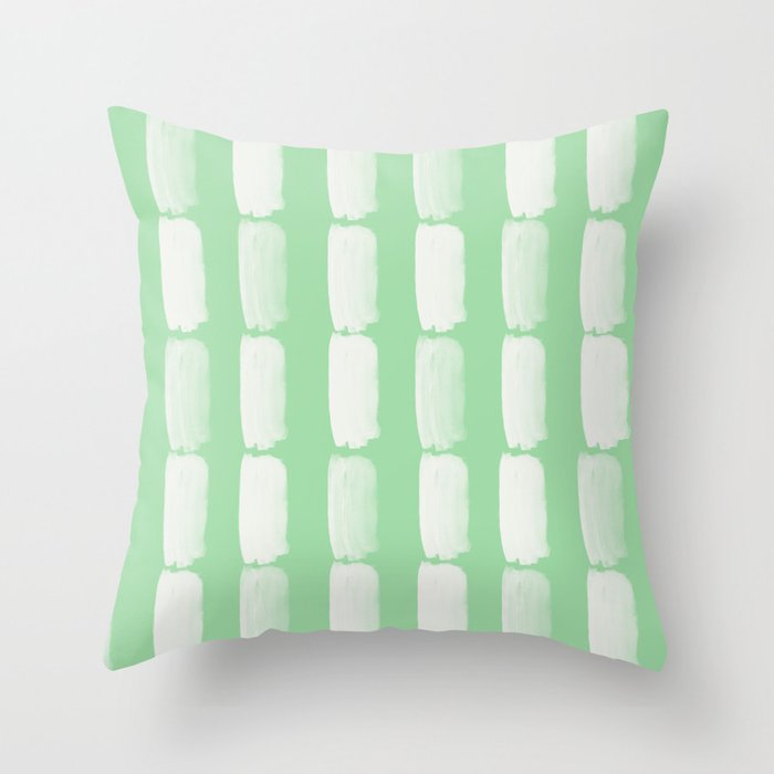 Linen White Grid Brushstrokes on Pastel Mint Green Pairs to Coloro 2020 Color of the Year Neo Mint Throw Pillow