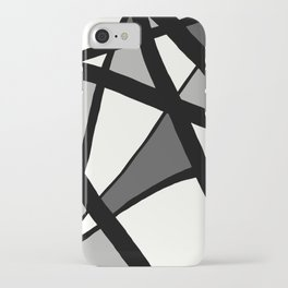 Geometric Line Abstract - Black Gray White iPhone Case