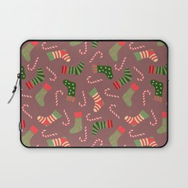 Hand painted green red white Christmas socks candy pattern Laptop Sleeve
