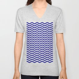 Waves (Navy & White Pattern) Unisex V-Neck