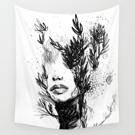 BLACK N WHITE WOMEN ABSTRACT FACE-LOVE Wall Tapestry