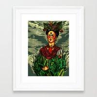 frida kahlo Framed Art Prints featuring Frida Kahlo by Nicolae Negura
