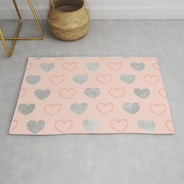 Elegant hand painted romantic coral pink silver foil hearts Rug