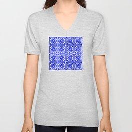 Blue Elegance Classic Tile Pattern Unisex V-Neck