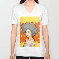 ginger V-neck T-shirts featuring Ginger by Bhavana S N