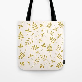 Gold Leaves Design on Cream Tote Bag