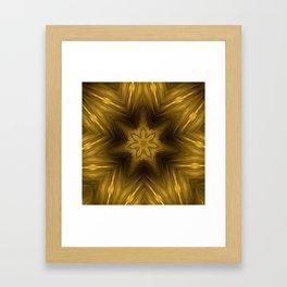 Golden Amber Metalic Abstract Star #Kaleidoscope Framed Art Print