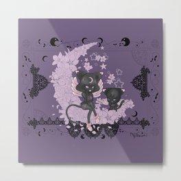 Black Cat Tsuki Metal Print