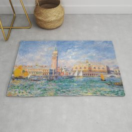 The Palace of the Doge's & St. Mark's Square Venice Italy landscape painting by Pierre Renoir Rug