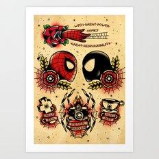 Spider Man Tattoo Flash Set Art Print