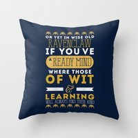 ravenclaw Throw Pillows featuring Ravenclaw by Dorothy Leigh