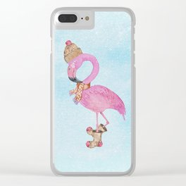 Winter Woodland Stranger- Cute Flamingo Bird Snowy Forest Illustration Clear iPhone Case