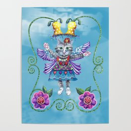 Angel Kitty (Turquoise) Poster