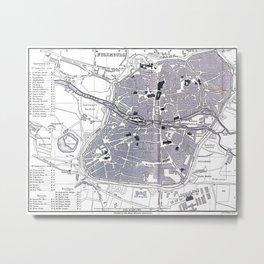 Vintage Map of Nuremberg Germany (1858) Metal Print