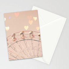 Ferris wheel nursery and heart bokeh on pale pink Stationery Cards