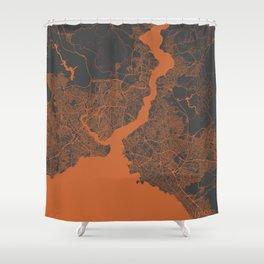 Istanbul Map orange Shower Curtain
