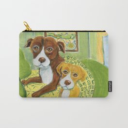 Pitbulls on patterned sheets Carry-All Pouch