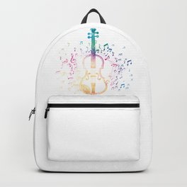 Colorful Music Notes Violin Backpack