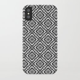 Squares - feathers abstract pattern gray scale iPhone Case