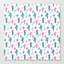 Cactus Pattern Fun Canvas Print