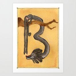 Animal's Alphabet - B for 'Babbuino' Art Print
