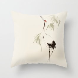 Oriental Red-Crowned Crane 001 Throw Pillow