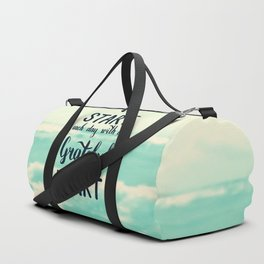 Start each day with a grateful heart Text on sea photo Duffle Bag
