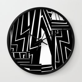 Large Graphic Black and White Ink Painting Wall Clock