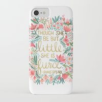 gold iPhone & iPod Cases featuring Little & Fierce by Cat Coquillette