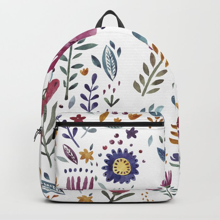 Watercolor Flowers White Backpack