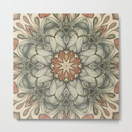 abstract flowers hand drawn and  kaleidoscope mandala Metal Print