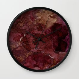 Rose, Burgundy and Merlot Watercolor Flowers Wall Clock