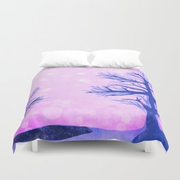 Blue ghost trees on pink speckled sky Duvet Cover