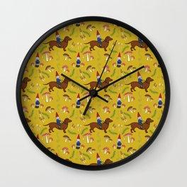 Gnome and Dachshund in Mushroom Land, Mustard Yellow Wall Clock