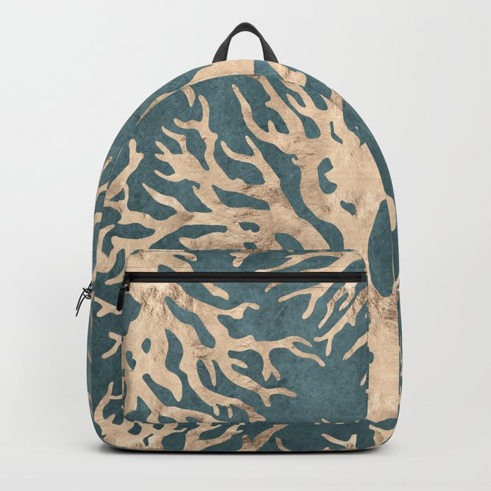 Coral teal - scratched leather Backpack