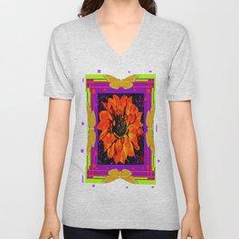 Orangey-Red Dahlia Butterly Lilac Pattern Unisex V-Neck