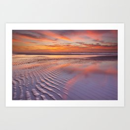 III - Beautiful sunset and reflections on the beach at low tide Art Print