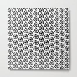 Hand drawn flower doodle pattern Metal Print