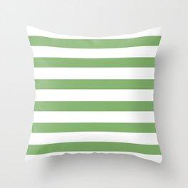 Clover Green Stripes on White Throw Pillow
