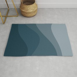 Abstract Color Waves - Blue Palette Rug