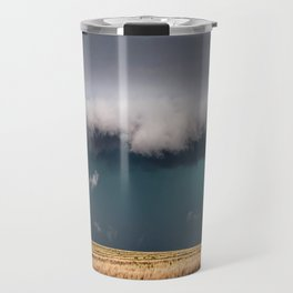 Small - Large Storm Towering Over Windmill in Texas Travel Mug