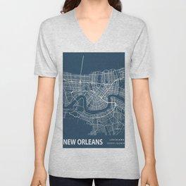 New Orleans Blueprint Street Map, New Orleans Colour Map Prints Unisex V-Neck
