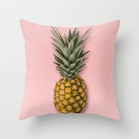 Throw Pillows featuring Pineapple by Marta Li