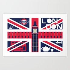 Vintage Union Jack UK Flag with London Decoration Art Print