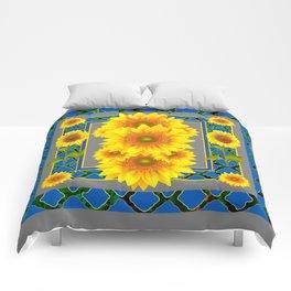 DECORATIVE BLUE-GREY SUNFLOWERS ART Comforters