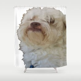Grumpy Terrier Dog Face Shower Curtain