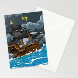Pirate Ship in Stormy Ocean Stationery Cards