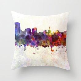 Niigata skyline in watercolor background Throw Pillow