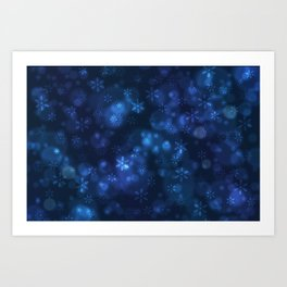 Blue Snowflakes Winter Christmas Pattern Art Print
