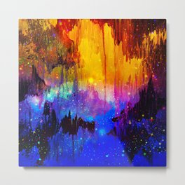 CASTLES IN THE MIST Magical Abstract Acrylic Painting Mixed Media Fantasy Cosmic Colorful Galaxy  Metal Print